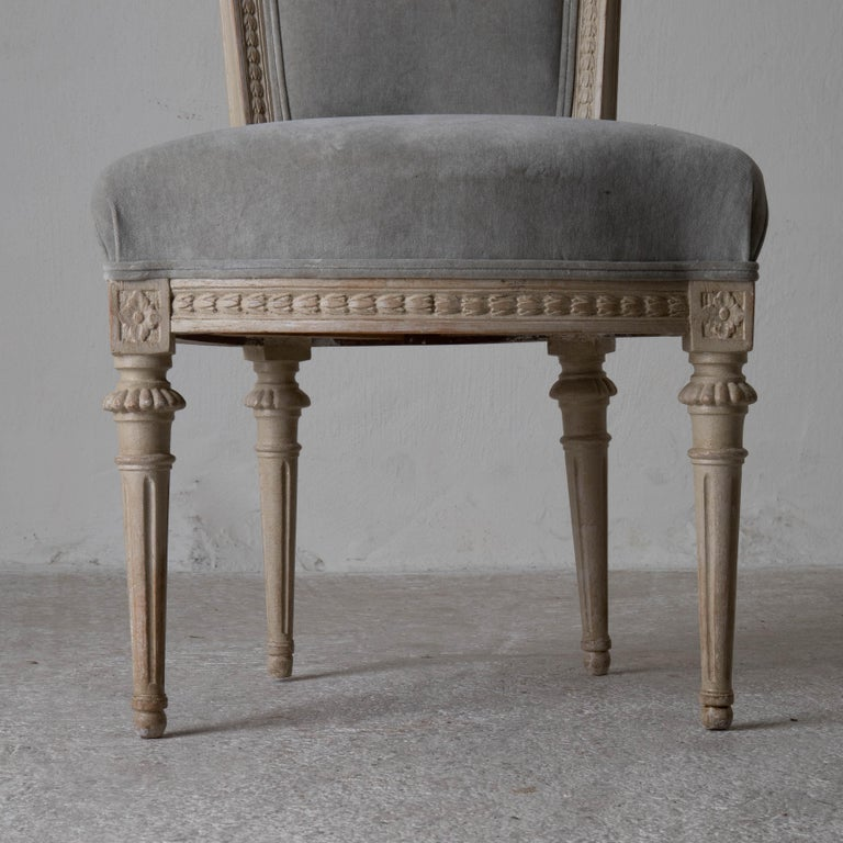Chairs Dining Set of 8 Swedish Gustavian Gray, Sweden For Sale 2