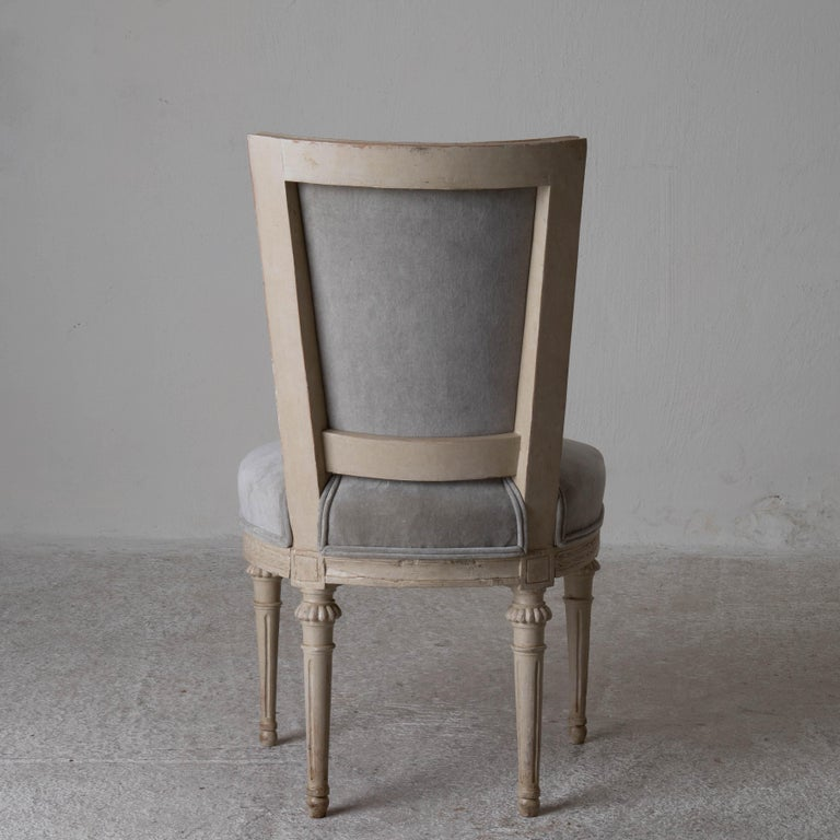 Chairs Dining Set of 8 Swedish Gustavian Gray, Sweden For Sale 4