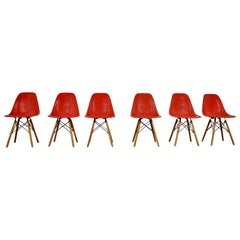 Chairs DSW by Charles and Ray Eames for Herman Miller 1970s set of 6