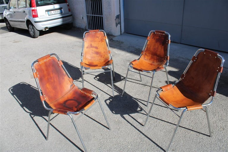 Chairs 'Les Arcs' Charlotte Perriand, 1970s Cognac Leather Chromed Metal, Italy For Sale 4