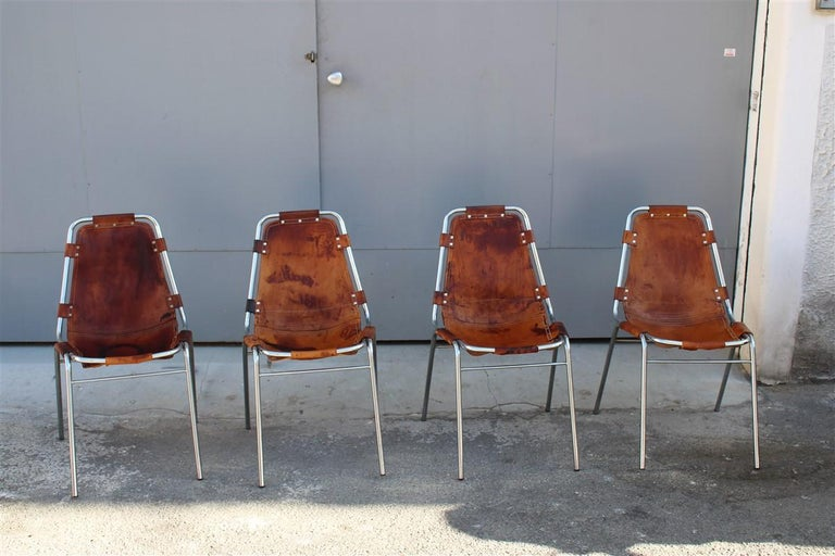 Chairs 'Les Arcs' Charlotte Perriand, 1970s cognac leather chromed metal, Italy.