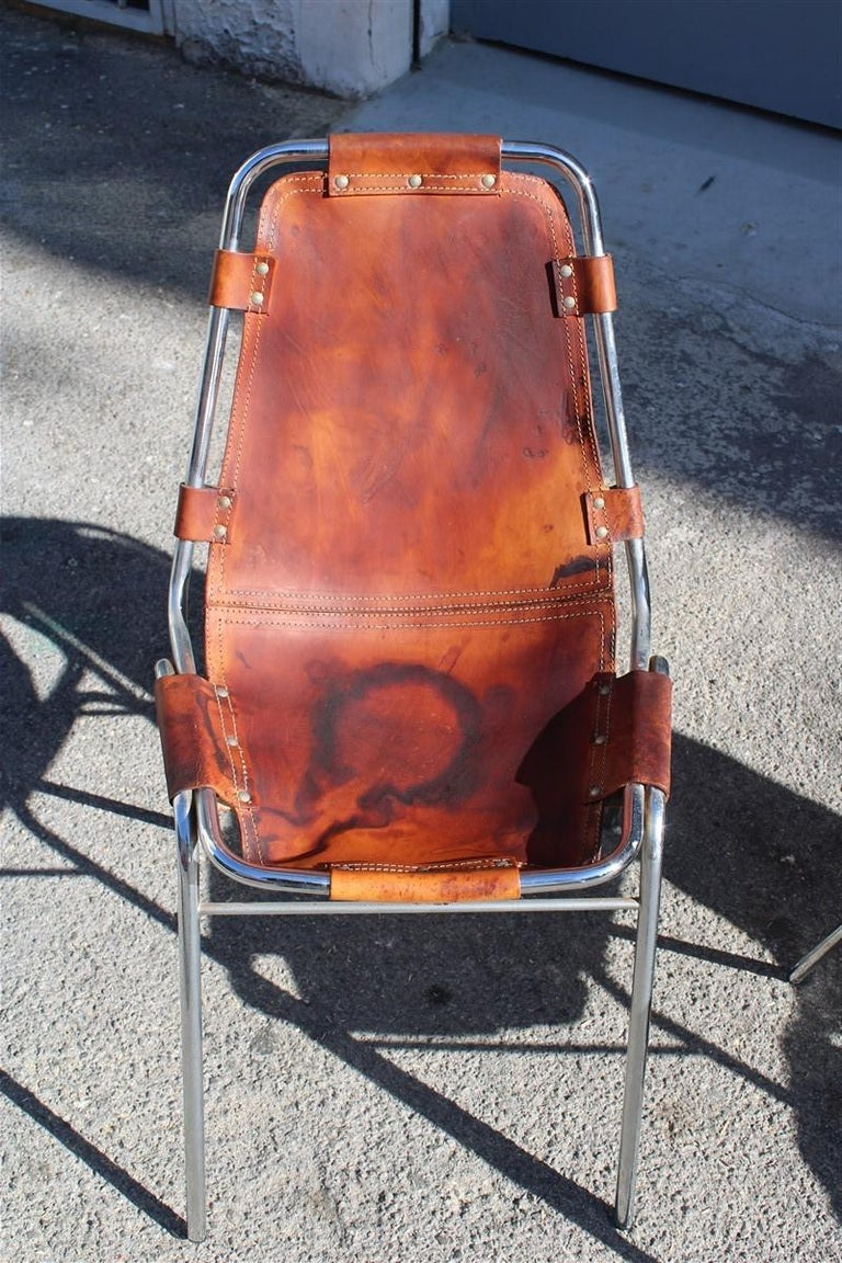 Mid-Century Modern Chairs 'Les Arcs' Charlotte Perriand, 1970s Cognac Leather Chromed Metal, Italy For Sale