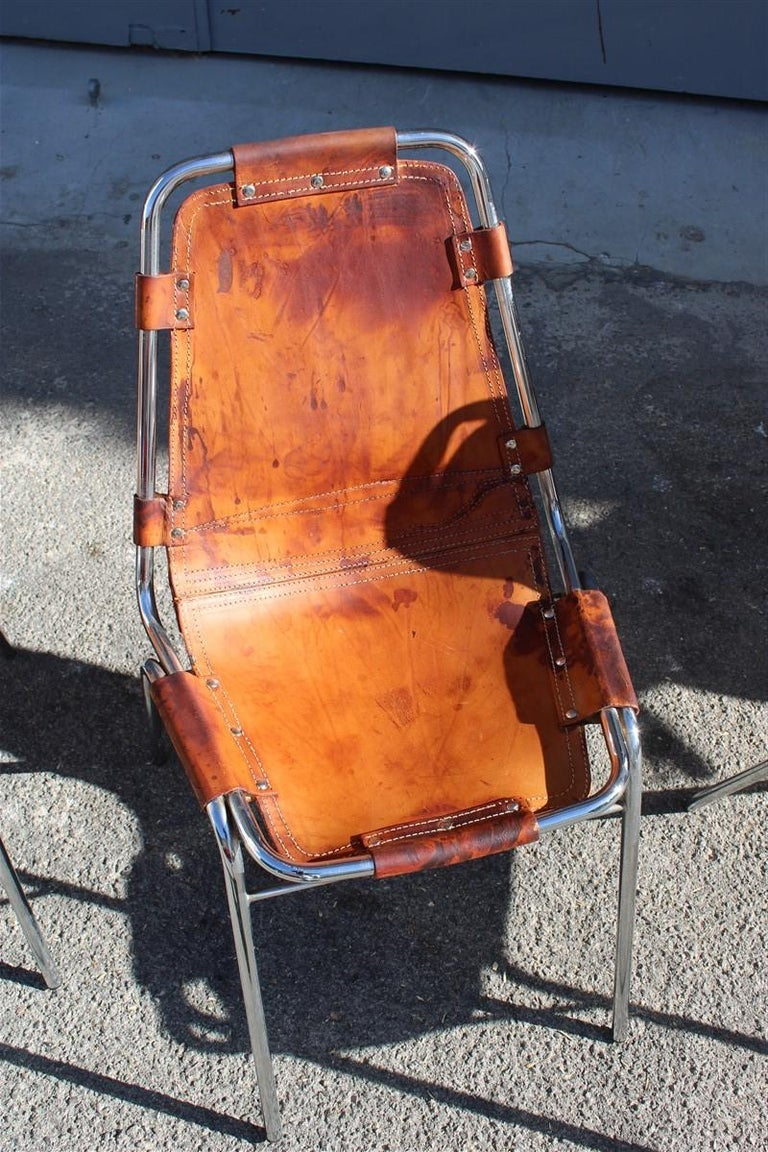 Chairs 'Les Arcs' Charlotte Perriand, 1970s Cognac Leather Chromed Metal, Italy In Good Condition For Sale In Palermo, Sicily