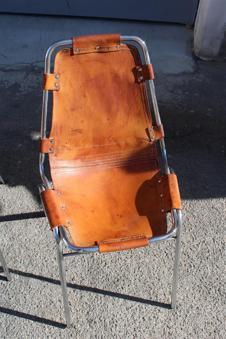 Late 20th Century Chairs 'Les Arcs' Charlotte Perriand, 1970s Cognac Leather Chromed Metal, Italy For Sale