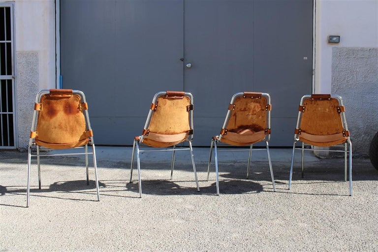 Chairs 'Les Arcs' Charlotte Perriand, 1970s Cognac Leather Chromed Metal, Italy For Sale 1