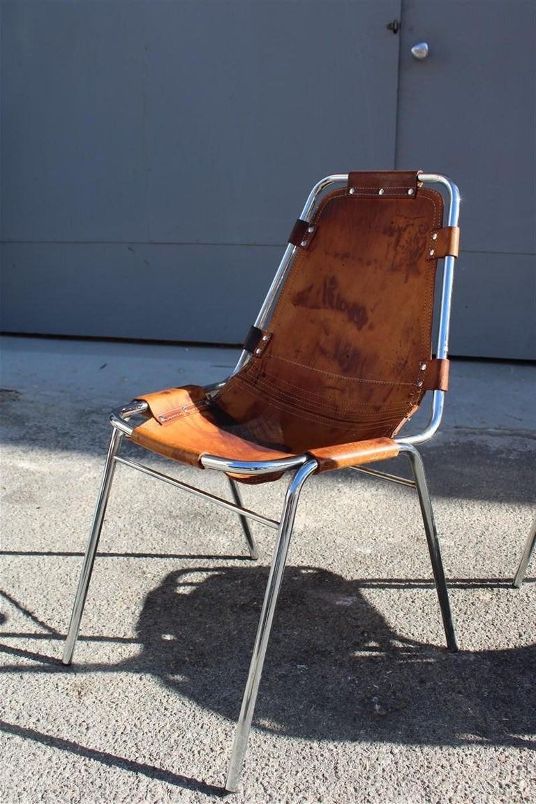 Chairs 'Les Arcs' Charlotte Perriand, 1970s Cognac Leather Chromed Metal, Italy For Sale 2