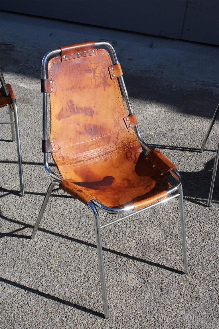 Chairs 'Les Arcs' Charlotte Perriand, 1970s Cognac Leather Chromed Metal, Italy For Sale 3