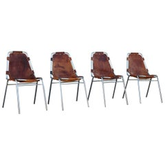 Chairs 'Les Arcs' Charlotte Perriand, 1970s Cognac Leather Chromed Metal, Italy