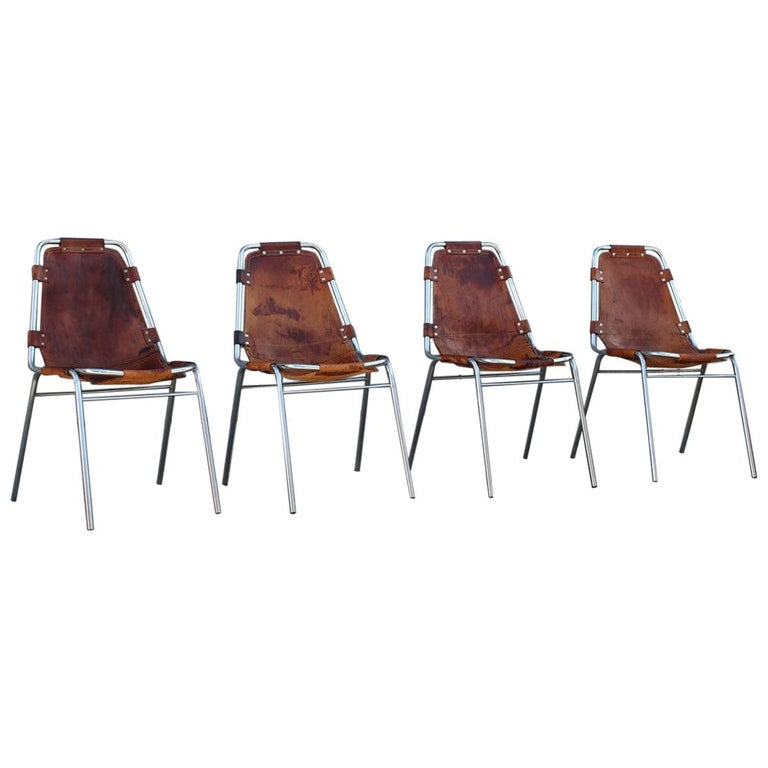 Chairs 'Les Arcs' Charlotte Perriand, 1970s Cognac Leather Chromed Metal, Italy For Sale