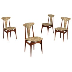 Chairs Mahogany Foam and Fabric 1950s Italian Production