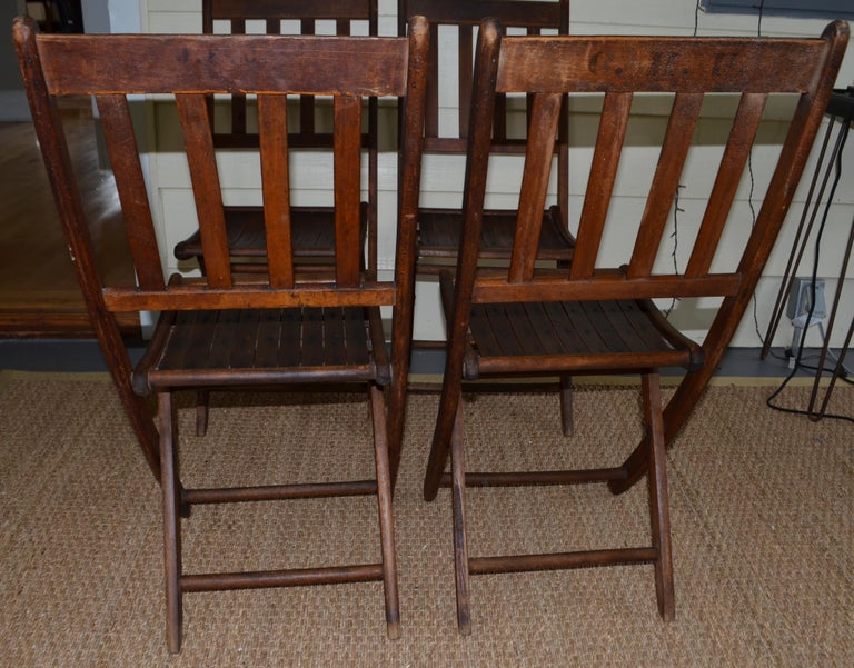 Chairs of Oak, Folding, Late 19th Century European, Set of 4, Multiple Sets For Sale 5