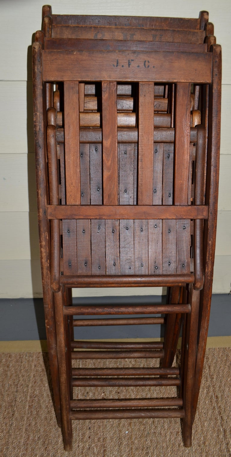 Chairs of Oak, Folding, Late 19th Century European, Set of 4, Multiple Sets For Sale 6