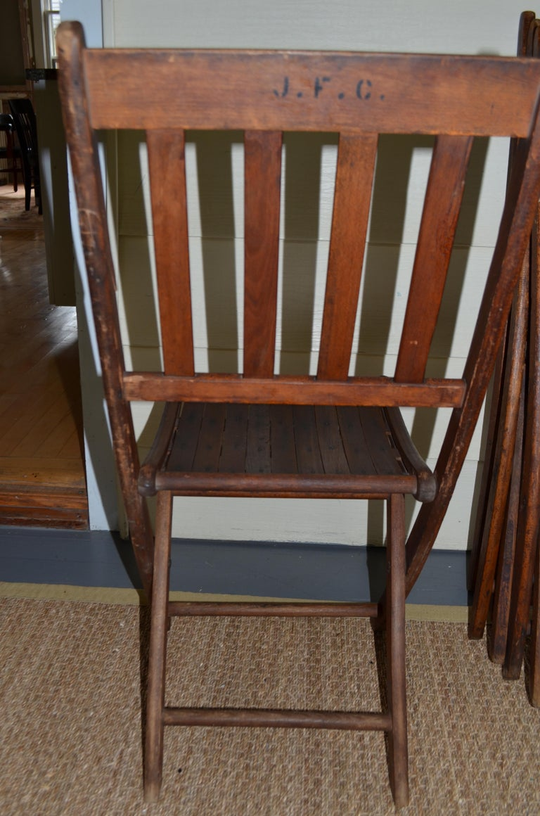 Chairs of Oak, Folding, Late 19th Century European, Set of 4, Multiple Sets For Sale 8