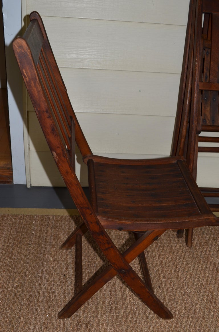 Chairs of Oak, Folding, Late 19th Century European, Set of 4, Multiple Sets For Sale 9