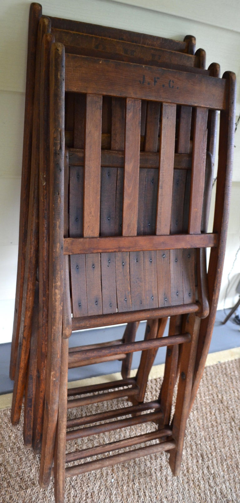 Chairs of Oak, Folding, Late 19th Century European, Set of 4, Multiple Sets For Sale 12