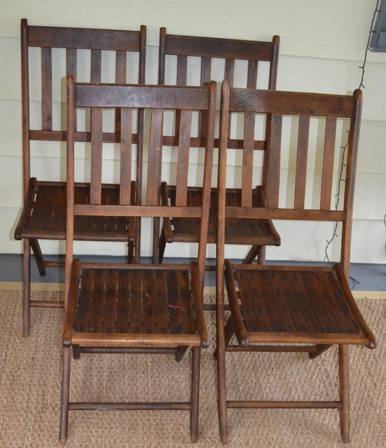 Schoolhouse Chairs of Oak, Folding, Late 19th Century European, Set of 4, Multiple Sets For Sale