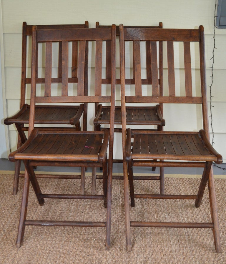 German Chairs of Oak, Folding, Late 19th Century European, Set of 4, Multiple Sets For Sale