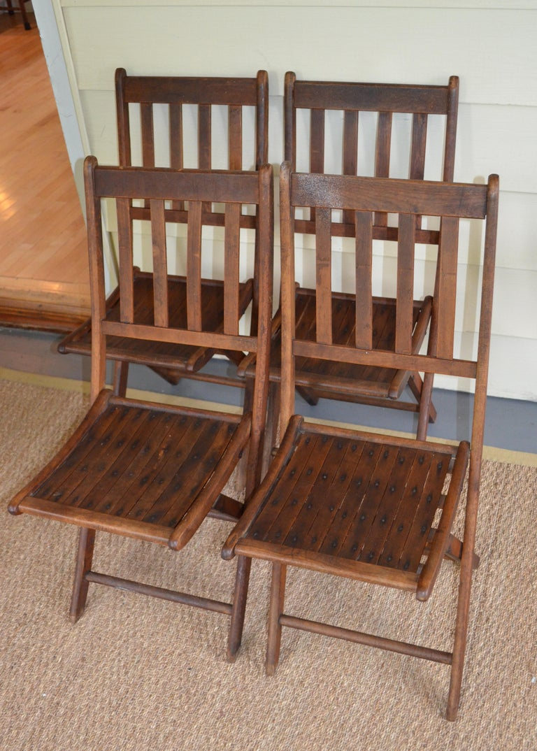 Chairs of Oak, Folding, Late 19th Century European, Set of 4, Multiple Sets In Good Condition For Sale In Madison, WI