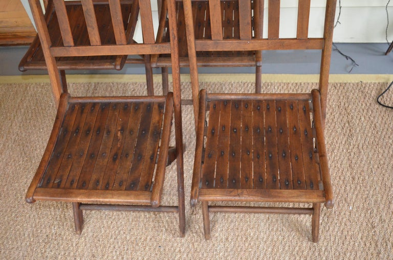 1890s Chairs of Oak, Folding, Late 19th Century European, Set of 4, Multiple Sets For Sale
