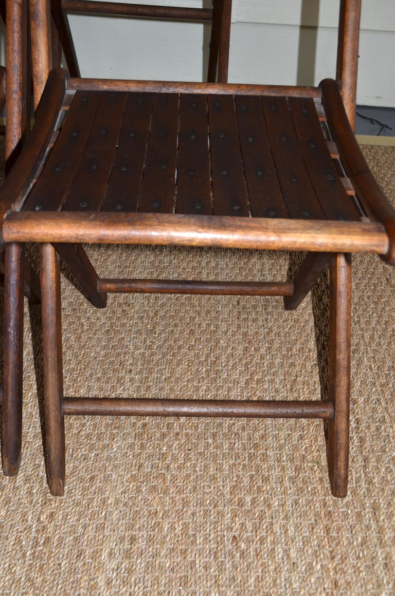 Chairs of Oak, Folding, Late 19th Century European, Set of 4, Multiple Sets For Sale 3