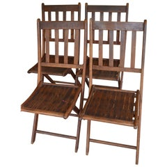 Chairs of Oak, Folding, Late 19th Century European, Set of 4, Multiple Sets