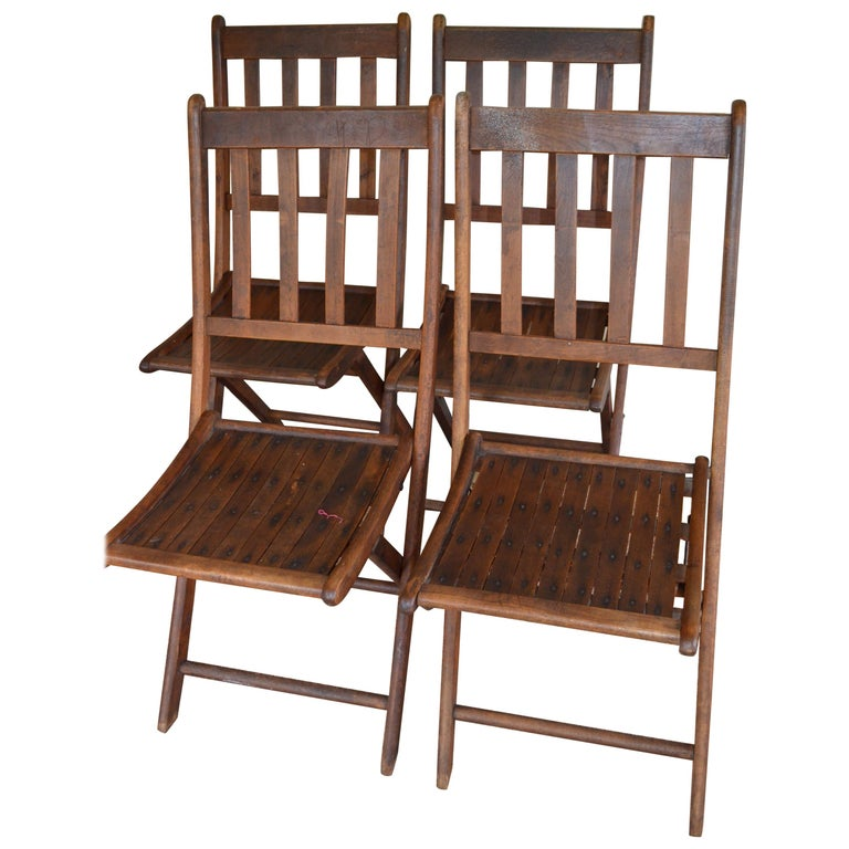 Chairs of Oak, Folding, Late 19th Century European, Set of 4, Multiple Sets For Sale