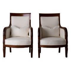 Chairs Pair of Bergeres 19th Century Directoire French Mahogany White France