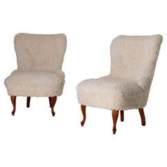 Chairs Pair Lounge Swedish Sheepskin White Sweden