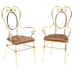 Chairs, Pair of Brass Chairs with Silk Upholstery, Italy, circa 1950