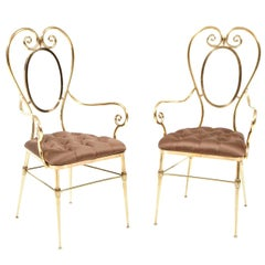 Chairs, Pair of Brass Chairs with Silk Upholstery, Italy, circa 1950, Vintage
