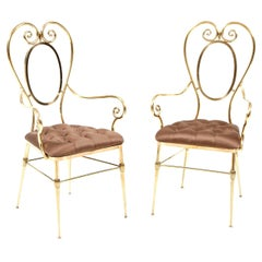 Chairs, Pair of Brass Chairs with Silk Upholstery, Midcentury