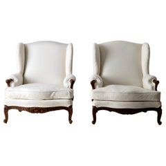 Chairs Pair of French Wingback Rococo Style Pair of Cream White Brown, France