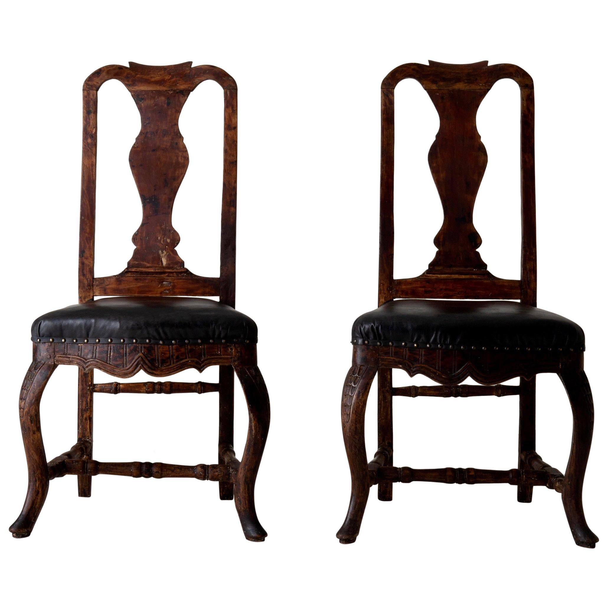 Chairs Pair of Swedish Baroque Brown Black Sweden