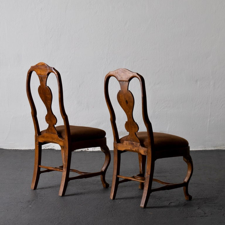 Pair of Side Chairs Swedish Rococo Period Wood Sweden In Good Condition For Sale In New York, NY