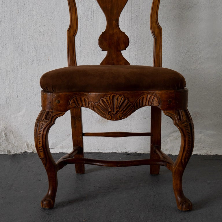 Pair of Side Chairs Swedish Rococo Period Wood Sweden For Sale 1