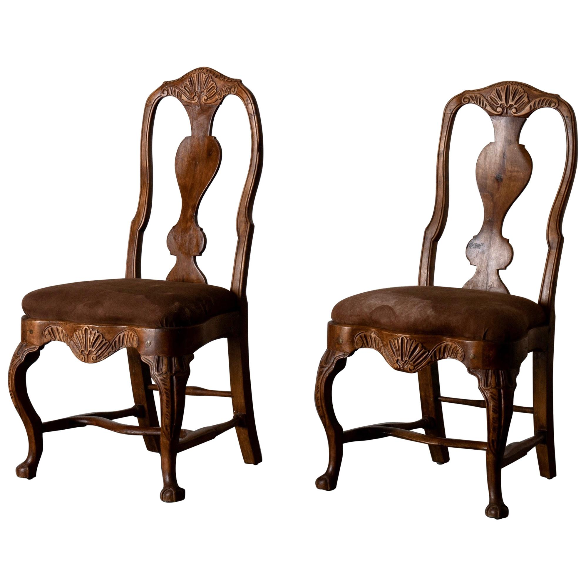 Pair of Side Chairs Swedish Rococo Period Wood Sweden