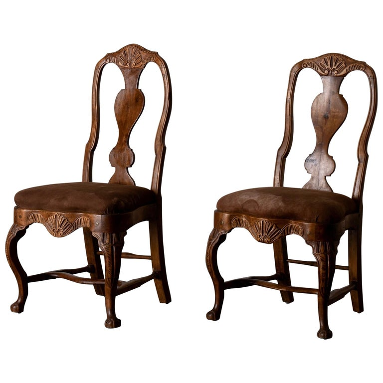 Pair of Side Chairs Swedish Rococo Period Wood Sweden For Sale