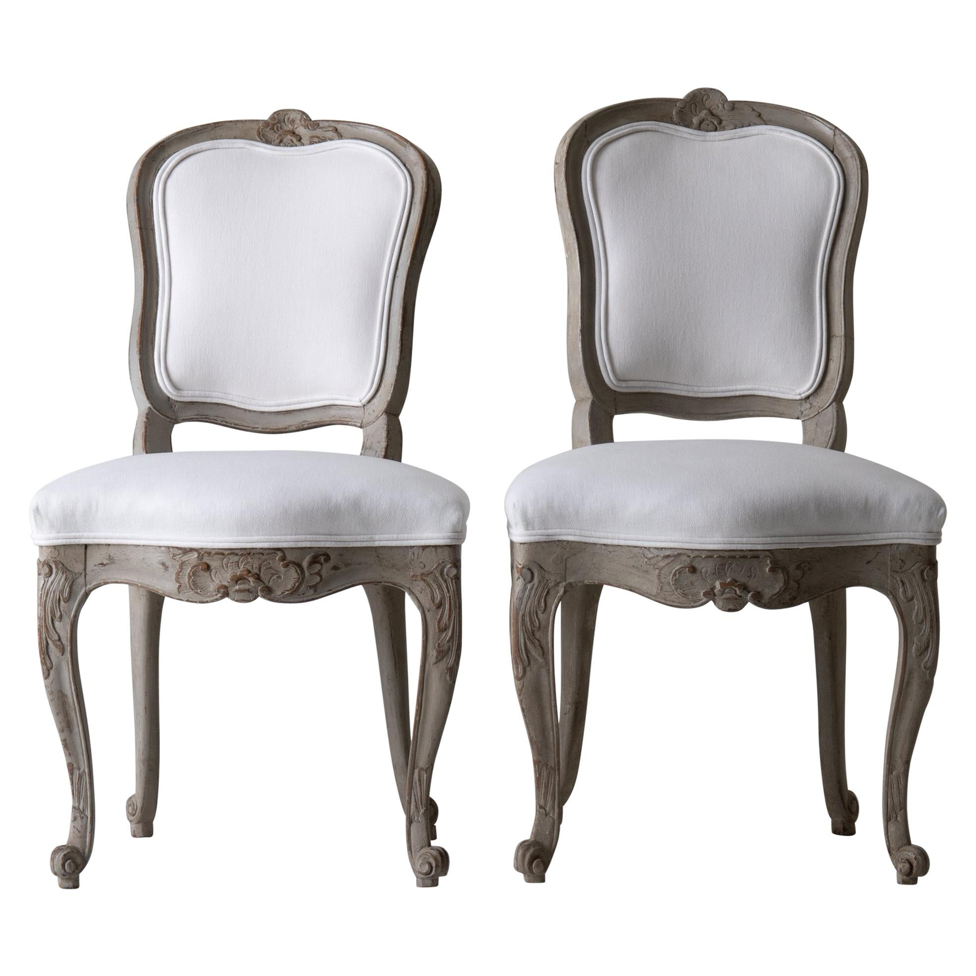 Chairs Pair of Swedish Rococo 1750-1775 White Green Gray, Sweden