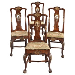 Chairs Set of 4 18th Century, Portuguese, Baroque, Parcel-Gilt, Walnut, Bargello