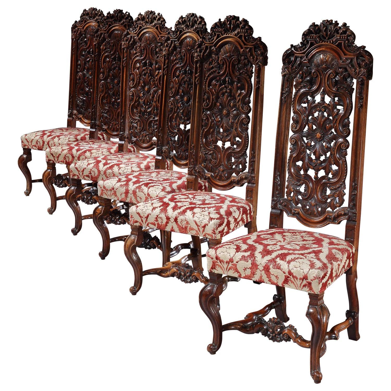 Chairs Set of Six Daniel Marot Walnut Pierced Carving High Backs