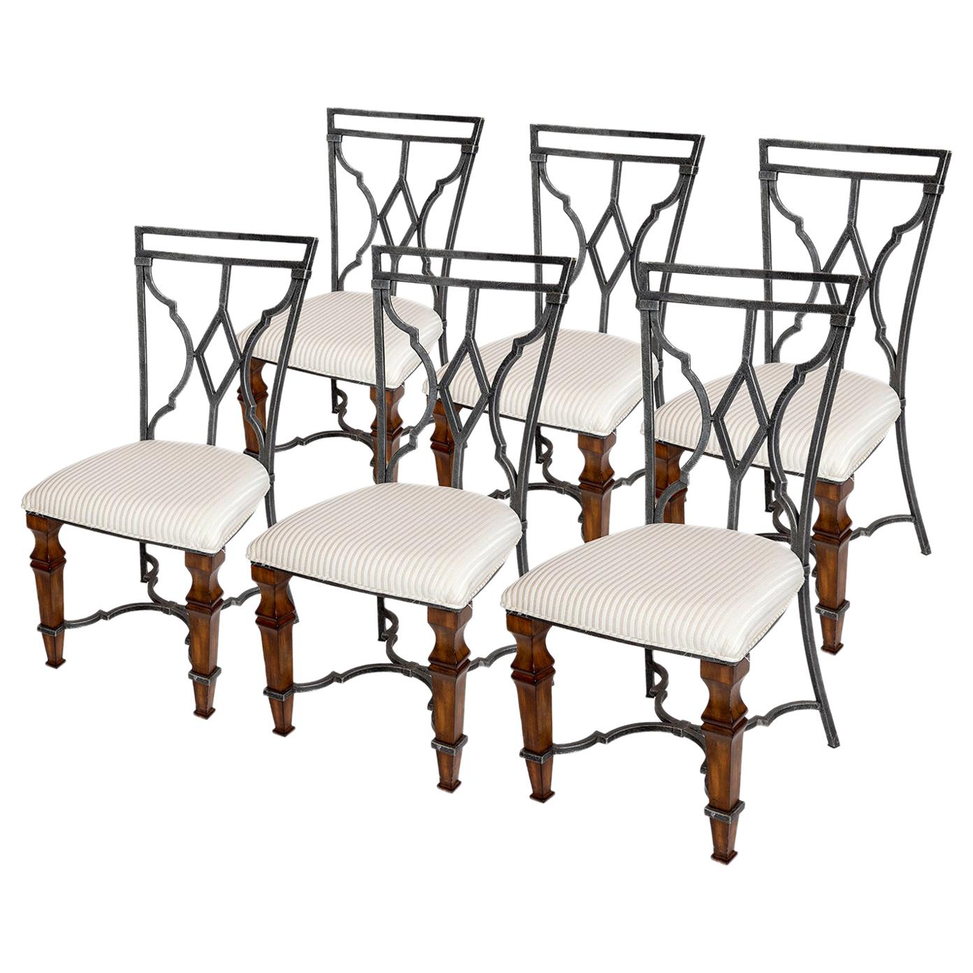 Chairs Set Six Teak Metal Upholstered White