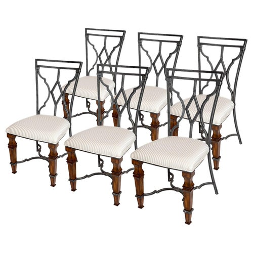 Chairs Set Six Teak Metal Upholstered White