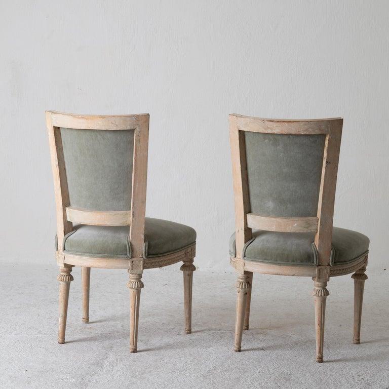 Chairs Side Chairs Swedish Gustavian 1790-1810 Velvet Green Beige White Sweden For Sale 3