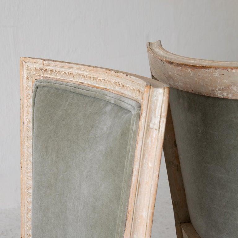 Chairs Side Chairs Swedish Gustavian 1790-1810 Velvet Green Beige White Sweden For Sale 5