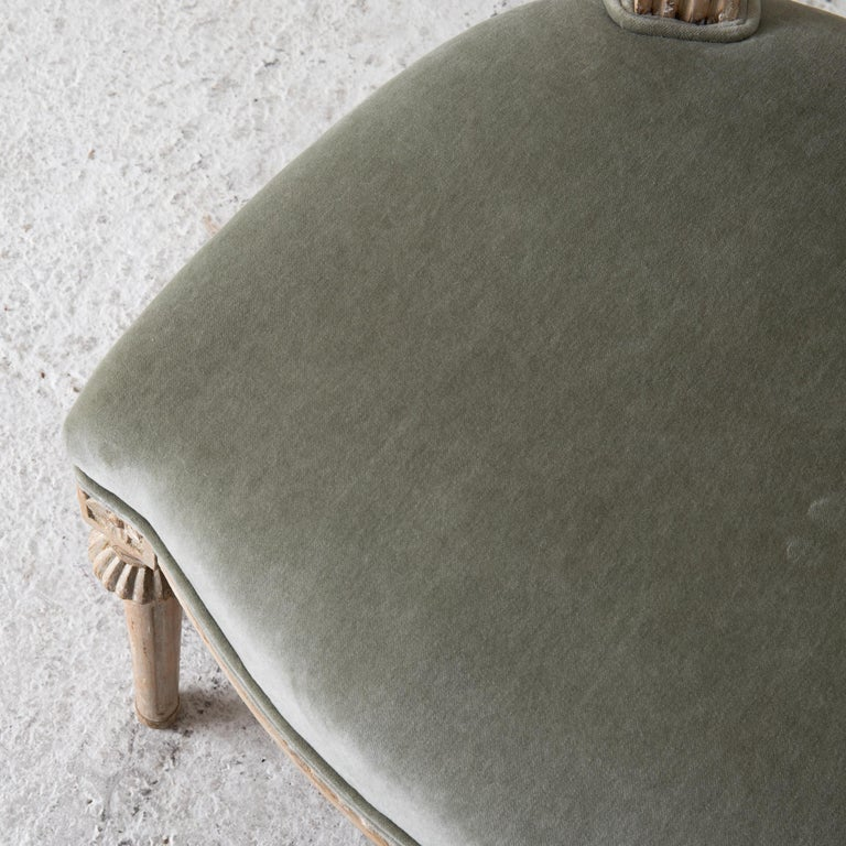 Chairs Side Chairs Swedish Gustavian 1790-1810 Velvet Green Beige White Sweden In Good Condition For Sale In New York, NY