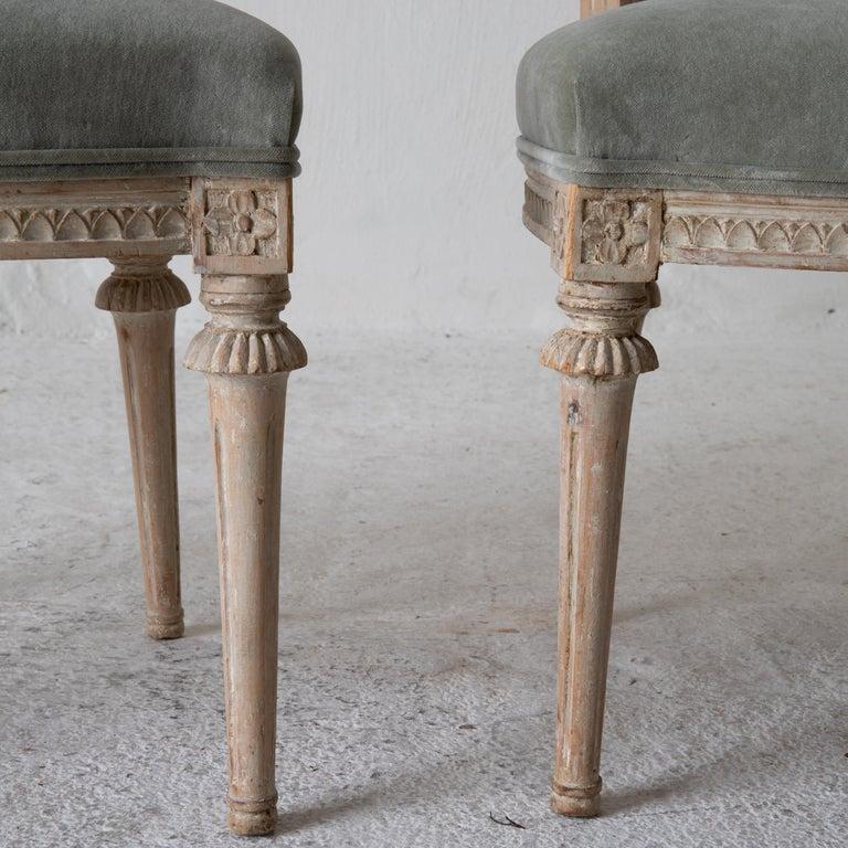 Wood Chairs Side Chairs Swedish Gustavian 1790-1810 Velvet Green Beige White Sweden For Sale