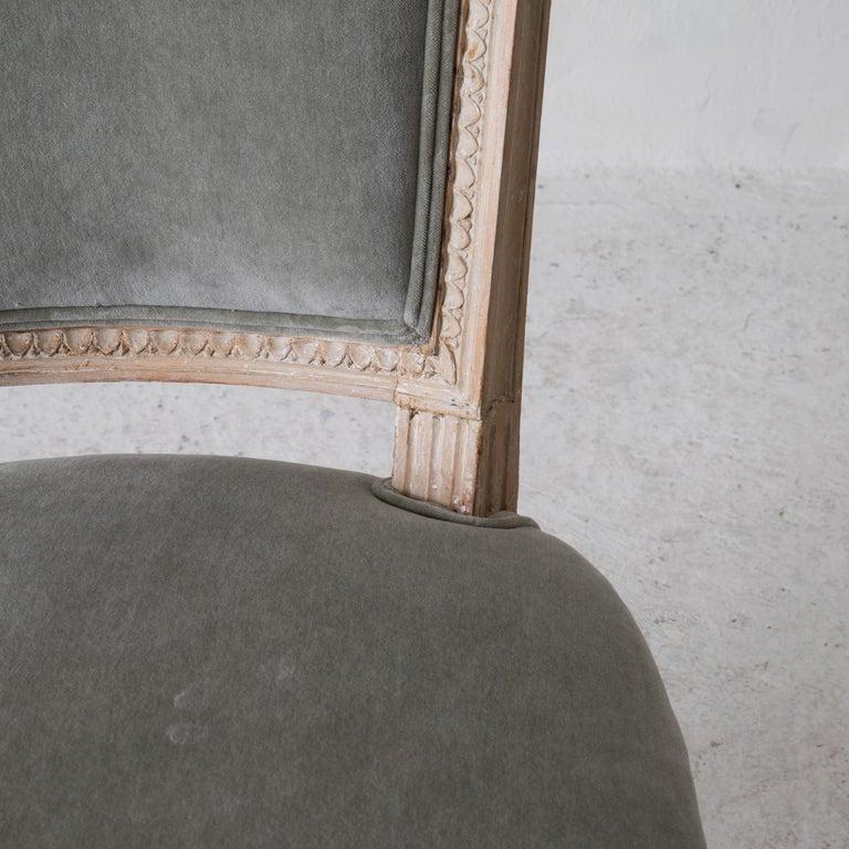 Chairs Side Chairs Swedish Gustavian 1790-1810 Velvet Green Beige White Sweden For Sale 1