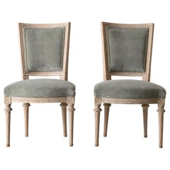 Chairs Side Chairs Swedish Gustavian 1790-1810 Velvet Green Beige White Sweden