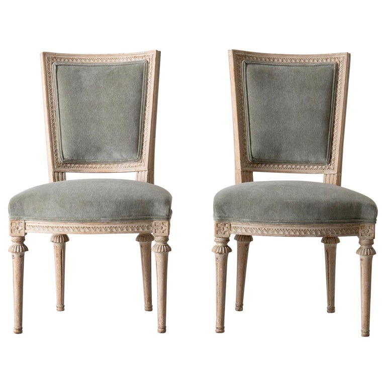 Chairs Side Chairs Swedish Gustavian 1790-1810 Velvet Green Beige White Sweden For Sale