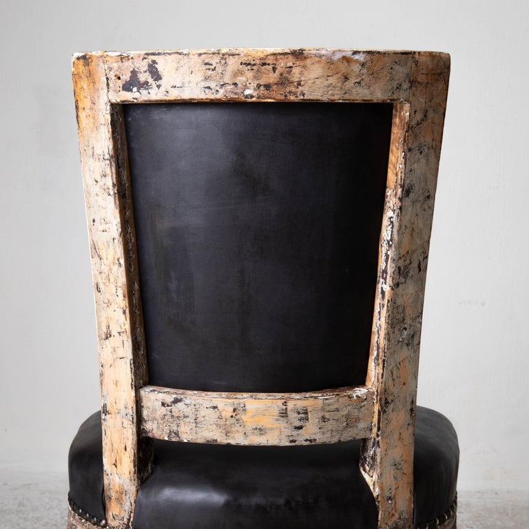 Chairs Side Sweden Gustavian Period 1790-1810 Black Leather For Sale 6